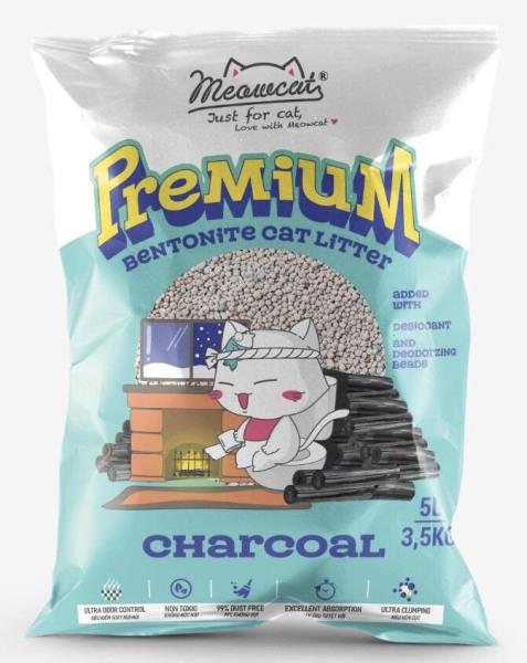 Meowcat- Cát bentonite cho mèo không mùi 5l/ Bentonite cat litter charcoal scent 5l