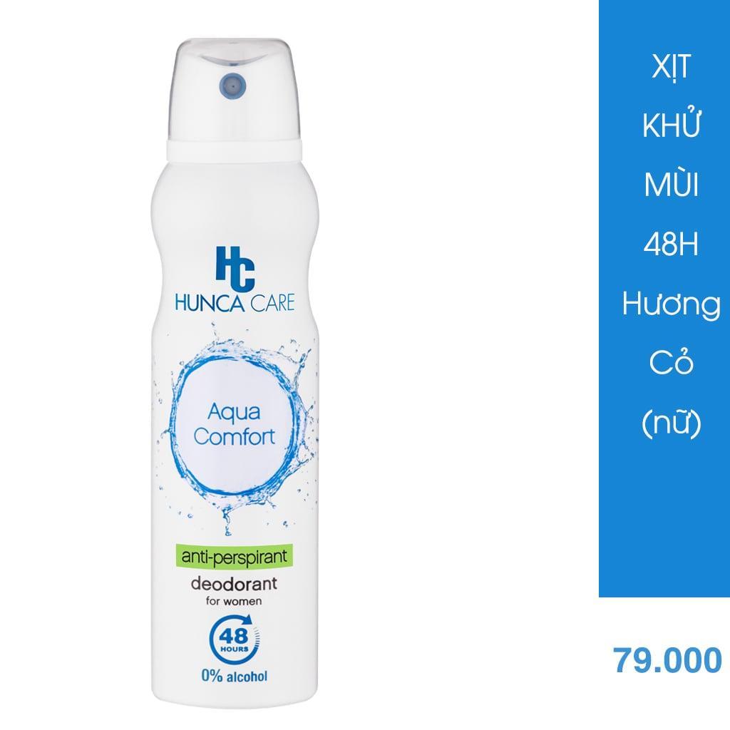 Xịt Khử Mùi Hunca ngăn mùi 48h giảm thâm nách, không gây vệt ố vàng trên áo 150ml - hương Cỏ tươi cao cấp