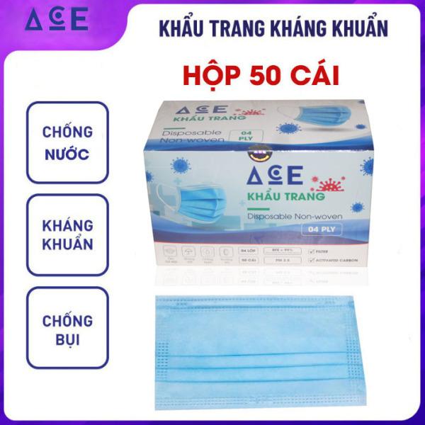 Khẩu trang y tế 4 lớp hộp 50 cái ACE kháng khuẩn, lọc bụi mịn, chống thấm, thoáng khí, ôm sát mặt nhập khẩu