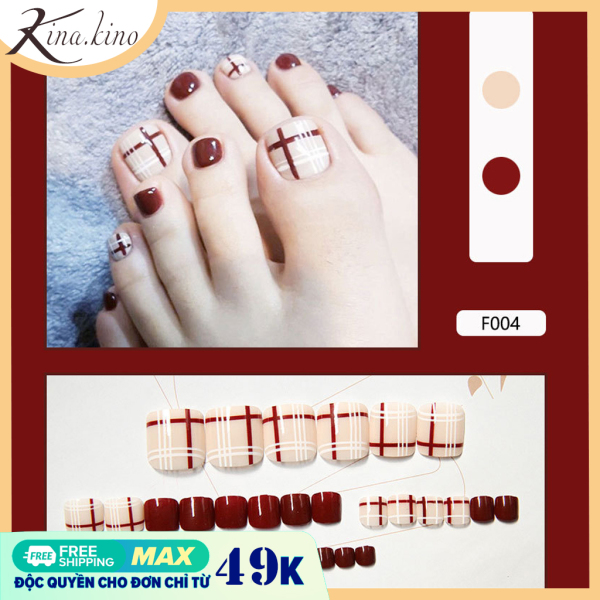 [Tặng keo] Set 24 móng chân giả cao cấp- móng chân giả vuông siêu HOT- Kinakino phukienlamdep