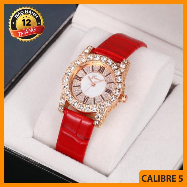 Đồng hồ nữ, Đồng hồ thời trang, Đồng hồ Geneva viền đá , Dây da, Sang trọng, Siêu đẹp, Nhiều màu - BẢO HÀNH 12 THÁNG bán chạy