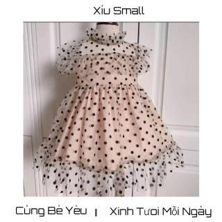 Váy đầm bé gái,váy chấm bi nâu voan cao cấp bé gái