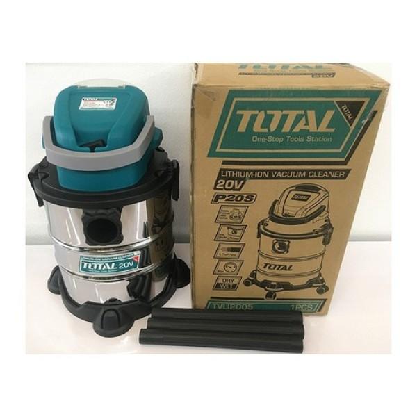 Máy hút bụi 20L dùng pin Lithium‑Ion 20V Total TVLI2005 (KHÔNG BAO GỒM PIN VÀ SẠC), Bình chứa thép không gỉ, kèm 1 ống mềm, 1 bàn chải sàn, 3 ống nhựa, 1 túi giấy