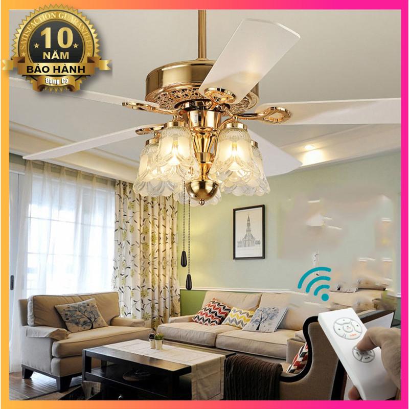 Đèn Trang Trí Phòng Khách Hiện Đại - Đèn quạt trần trang trí phòng khách, phòng ngủ HJ-9965G52[5 cánh Gỗ 52 inch]