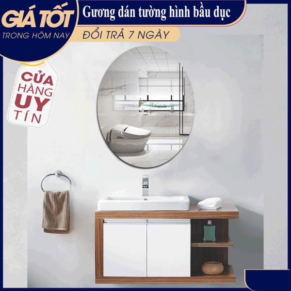 [ HÀNG MỚI ] Gương dán tường hình bầu dục, kích thước 42x27cm. gương nhà tắm giá rẻ