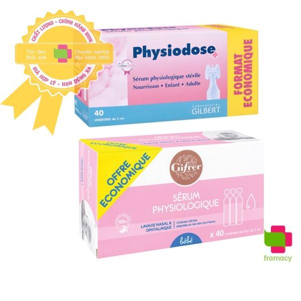 Nước muối sinh lý tép hồng Gifrer/Gilbert Physiodose, Pháp (40x5ml/ống) vệ sinh mũi, mắt hàng ngày cho bé và người lớn