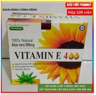 [Hộp 100 viên] Viên Uống Đẹp Da Vitamin E đỏ 4000mcg, Aloe vera 500mg Giúp sáng mịn da, chống lão hóa thumbnail