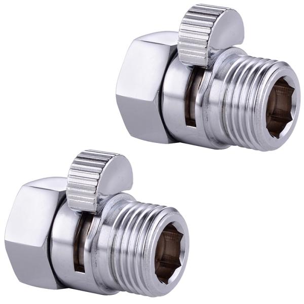 2 Pcs Shower Diverter Valve Solid Brass Shut Off Valve for Bidet Sprayer Or Shower Head