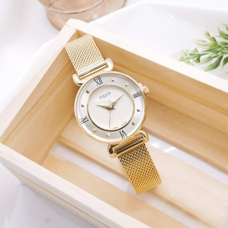 Đồng hồ nữ Julius JA-728C dây thép màu vàng