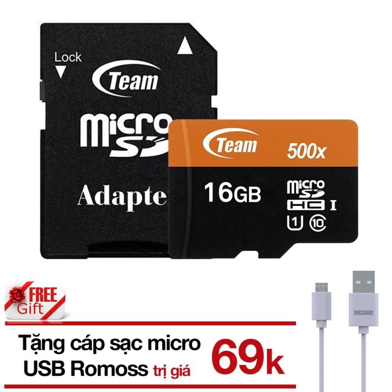 THẺ NHỚ 16GB MICROSDHC TEAM 80MB-S 500X C10 U1 ADAPTER  TẶNG CÁP MICRO USB TRÒN ROMOSS
