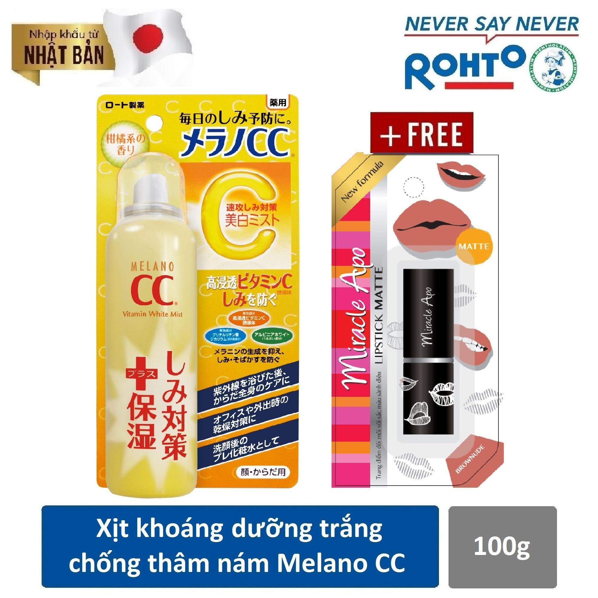 Xịt khoáng dưỡng trắng da chống thâm nám Melano CC Whitening Mist 100g ( Nhập khẩu từ Nhật Bản) + Tặng Son Lì Miracle Apo Lipstick Matte Brownude - Nâu đất 4g