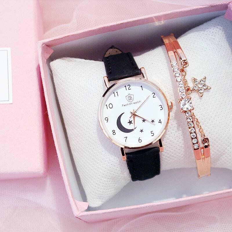 Nơi bán Đồng hồ thời trang nữ Fashion Watch mặt trăng khuyết dây da nhung mẫu mới SC275