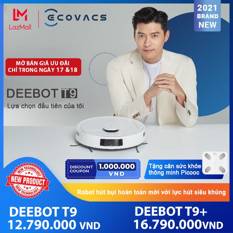 Robot hút bụi lau nhà ECOVACS DEEBOT T9 Cao Cấp - Có khả năng khử mùi - Điều khiển bằng ứng dụng - Phù hợp hệ sinh thái nhà thông minh - Bản quốc tế - Hàng chính hãng bảo hành 18 tháng.