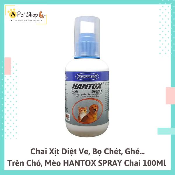 Chai Xịt Diệt Ve Bọ Chét Ghẻ Cho Chó Mèo Hantox Spray 100ml - A Pet Shop