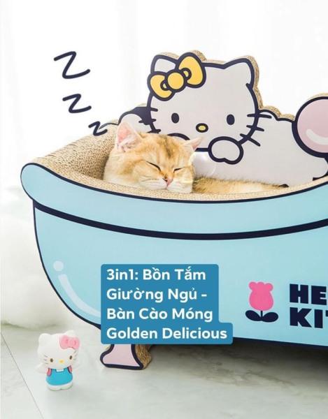3in1 Giường Nằm Kiêm Bàn Cào Móng Hình Bồn Tắm Cho Mèo - Thiết Kế Cực Đẹp - Kích Thước Lớn - Màu Sắc Đáng Yêu