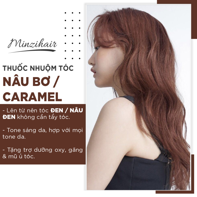 Thuốc Nhuộm Tóc Màu Nâu Bơ / Nâu Caramel | Lên Từ Nền Đen - Minzihair nhập khẩu