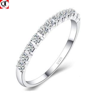 Nhẫn nữ Bạc Quang Thản, nhẫn bạc nữ bản nhỏ gắn đá cobic tấm trắng sáng chất liệu bạc thật không xi mạ có thể chỉnh size tay yêu cầu, phong cách trẻ trung thích hợp đeo tại các buổi dạ tiệc, sinh nhật, làm quà tặng QTNU52 thumbnail