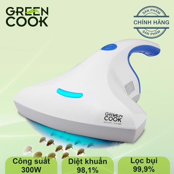 Máy hút bụi ga giường, vệ sinh rèm cửa GreenCook GCMV01 tia UV diệt khuẩn cho giường, nệm, sofa 300W GREEN COOK bảo vệ sức khỏe - Hàng chính hãng - bảo hành 12 tháng (Màu ngẫu nhiên)