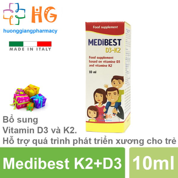 Medibest D3-K2 - Bổ sung Vitamin D3 và K2. Hỗ trợ quá trình phát triển xương, giúp xương răng chắc khỏe cao cấp