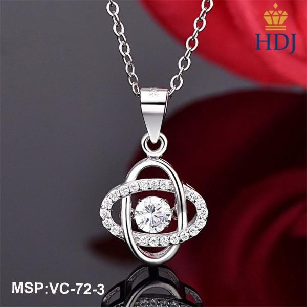 Dây chuyền bạc Ý 925 Hình Cỏ bốn lá may mắn đính đá nhiều màu đẹp trang sức cao cấp HDJ mã VC-72-3