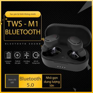 Tai nghe bluetooth M1 (Màu đen) thiết kế đơn giản, hiện đại, nhỏ gọn dung lượng lớn hộp đựng từ tính không sợ rớt, Âm thanh sóng động gọi thoại rõ ràng, Iphone và Android đều dùng được thumbnail