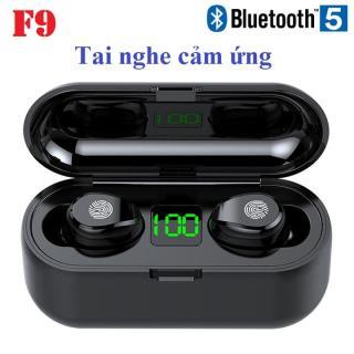 Tai nghe Bluetooth TWS F9 5.0 cảm ứng có thể tăng giảm âm lượng cao cấp màu đen - Hàng nhập khẩu thumbnail