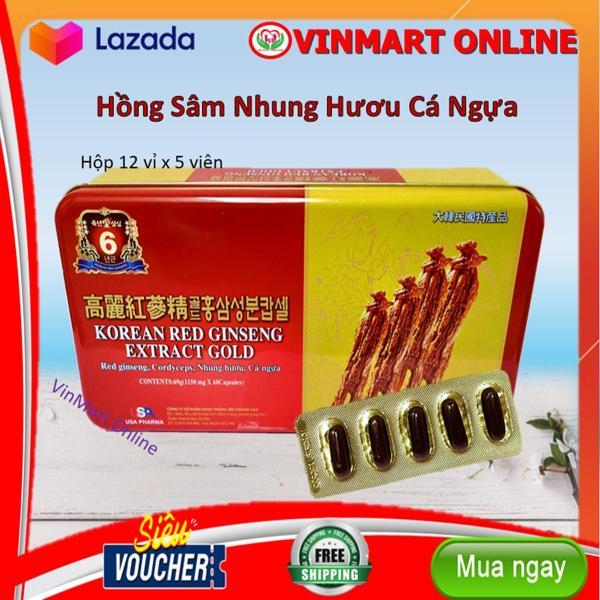 Viên Đạm Hồng Sâm Korean Red ginseng Extract Gold - Hộp 60 Viên Nang Mềm Bồi Bổ Sức Khỏe giá rẻ