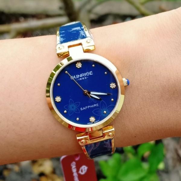 Đồng hồ nữ SUNRISE 9991SA kiểu dáng lắc tay, kính sapphire, chống nước 3ATM