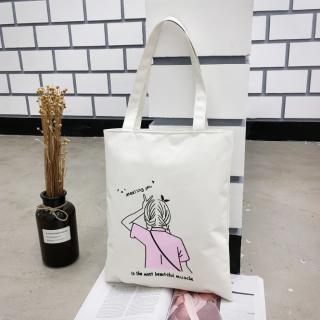 Túi xách Túi Tote basic thời trang Nữ vải canvas siêu xinh siêu đẹp hình 4 Cô Gái có khóa kéo thumbnail
