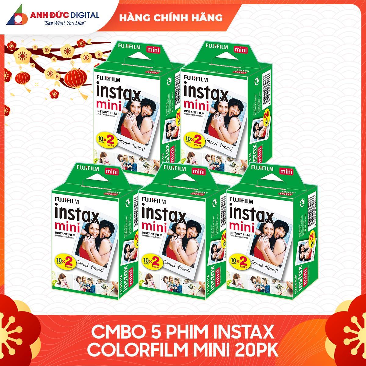 Giá Combo 5 hộp Film chụp hình lấy ngay Fujifilm Instax Mini 10X2/PK (100 tờ)