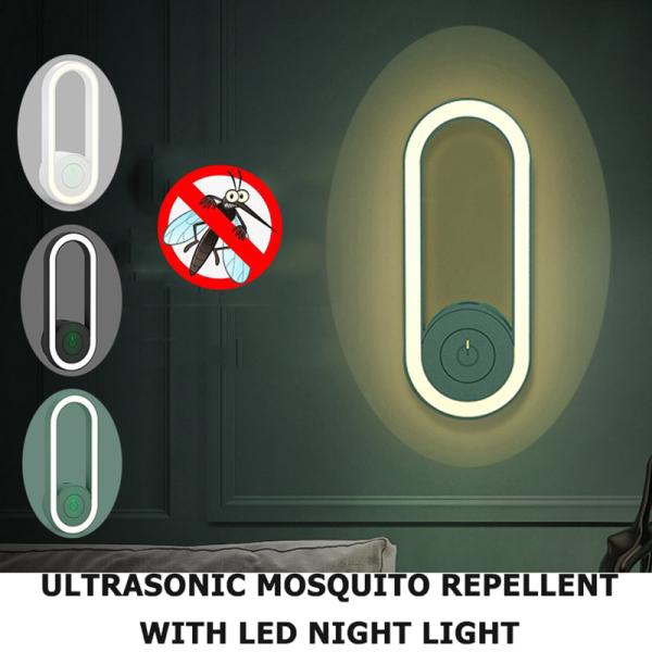 【CNUH MALL】 Máy diệt muỗi với ánh sáng ban đêm, Máy đuổi muỗi siêu âm, Máy đuổi muỗi thông minh, Đèn ngủ nhạy sáng, Máy đuổi muỗi 360 độ