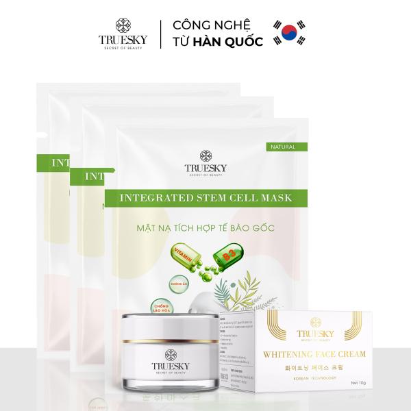 Bộ sản phẩm dưỡng trắng da mặt Truesky P01 gồm 1 kem dưỡng trắng da mặt 10g & 3 miếng mặt nạ dưỡng trắng da mặt