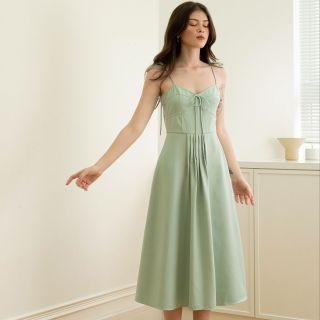 EDINI - Váy Đầm Hai Dây Thắt Nơ Nhún Ngực Màu Xanh - D1414 thumbnail