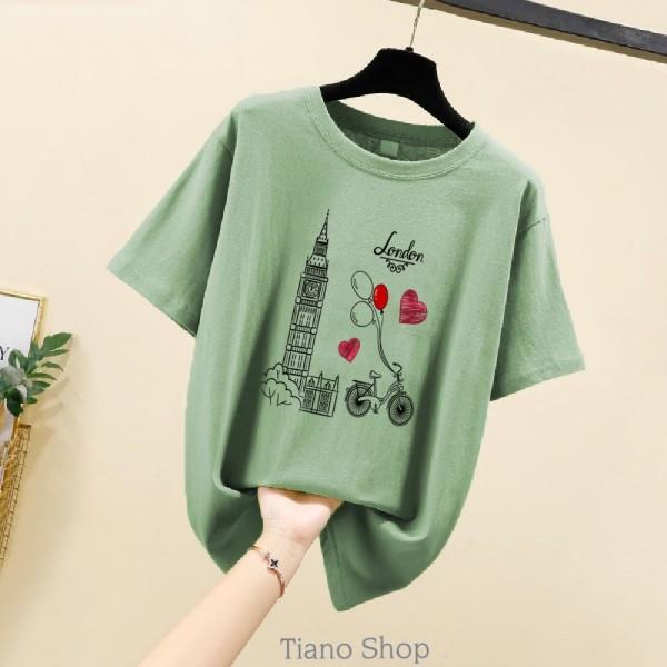 Áo Thun Nữ In Hình LONDON BIKE Phong Cách Hàn Quốc TIA-084  Vải Dày Mịn- Tiano Shop