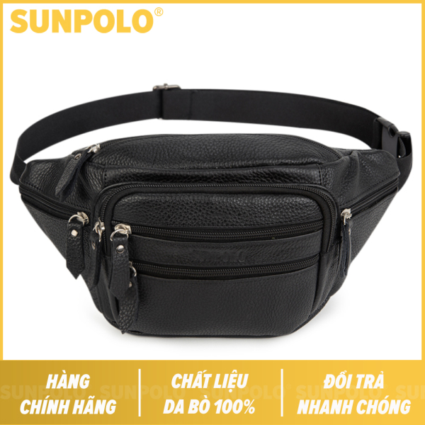 Túi Đeo Chéo Bao Tử Nam Da Bò Cao Cấp SUNPOLO SBT106 (Đen)