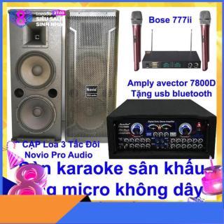 [Trả góp 0%]Dàn karaoke sân khấu karaoke gia đình Loa 3 tấc đôi sơn novio pro audio và amply karaoke avector 7800d kèm bộ micro bs 777ii thumbnail