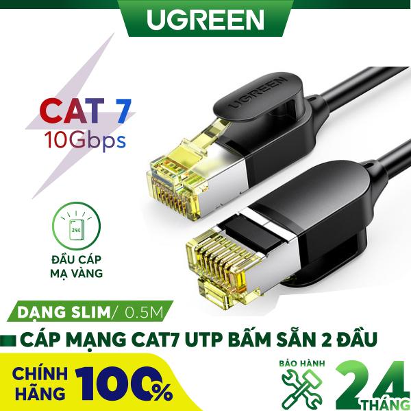 Bảng giá Cáp mạng 2 đầu đúc bọc hợp kim Cat7 STP, dạng dây tròn dài từ 0.5-25M UGREEN NW107 - Hãng phân phối chính thức Phong Vũ