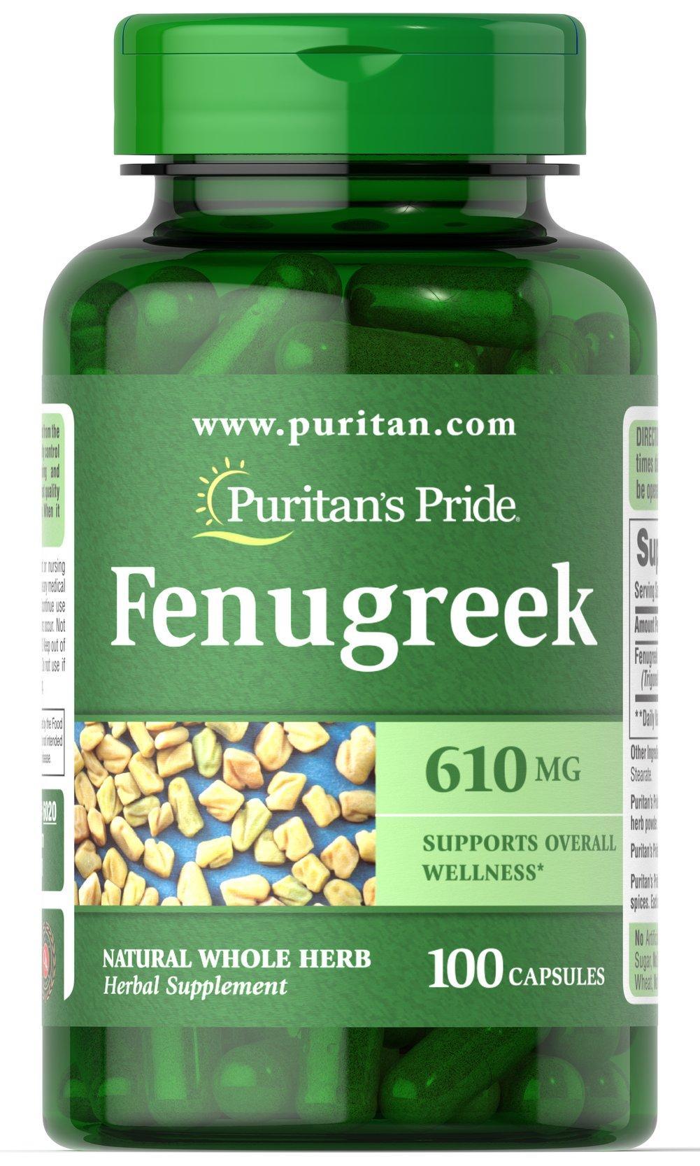 Viên uống lợi sữa cho mẹ thiếu sữa cho con FenuGreek 610mg 100 viên của Puritans Pride nhập khẩu