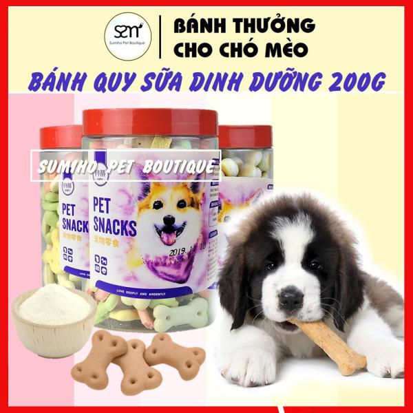 Bánh quy sữa dinh dưỡng cho chó mèo (Hộp 200gr) Bánh thưởng cho chó mèo