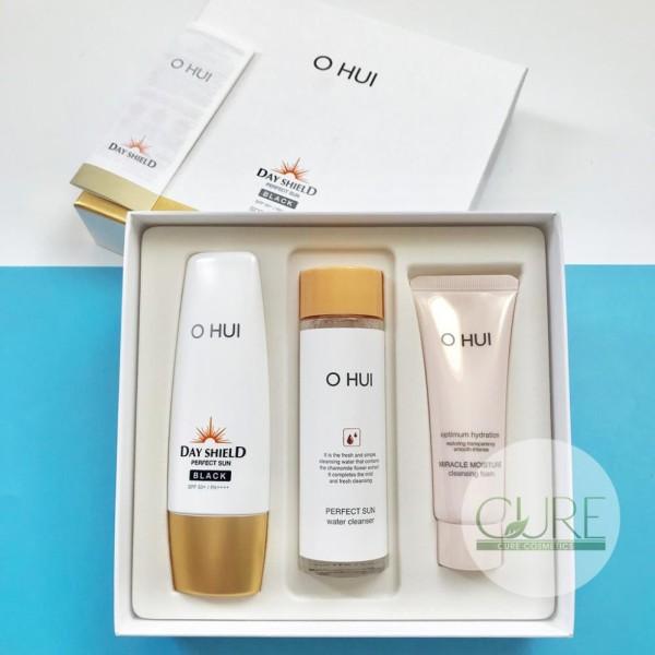 Set 3 món Kem chống nắng Ohui Perfect Sun Pro Black F50/ PA++++ bản 2018 tặng tẩy trang