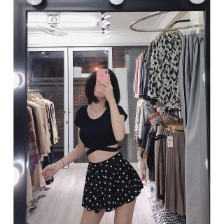 Áo tắm Bikini hai mảnh đẹp đồ bơi cộc tay màu đen bộ bơi dáng váy xòe thumbnail