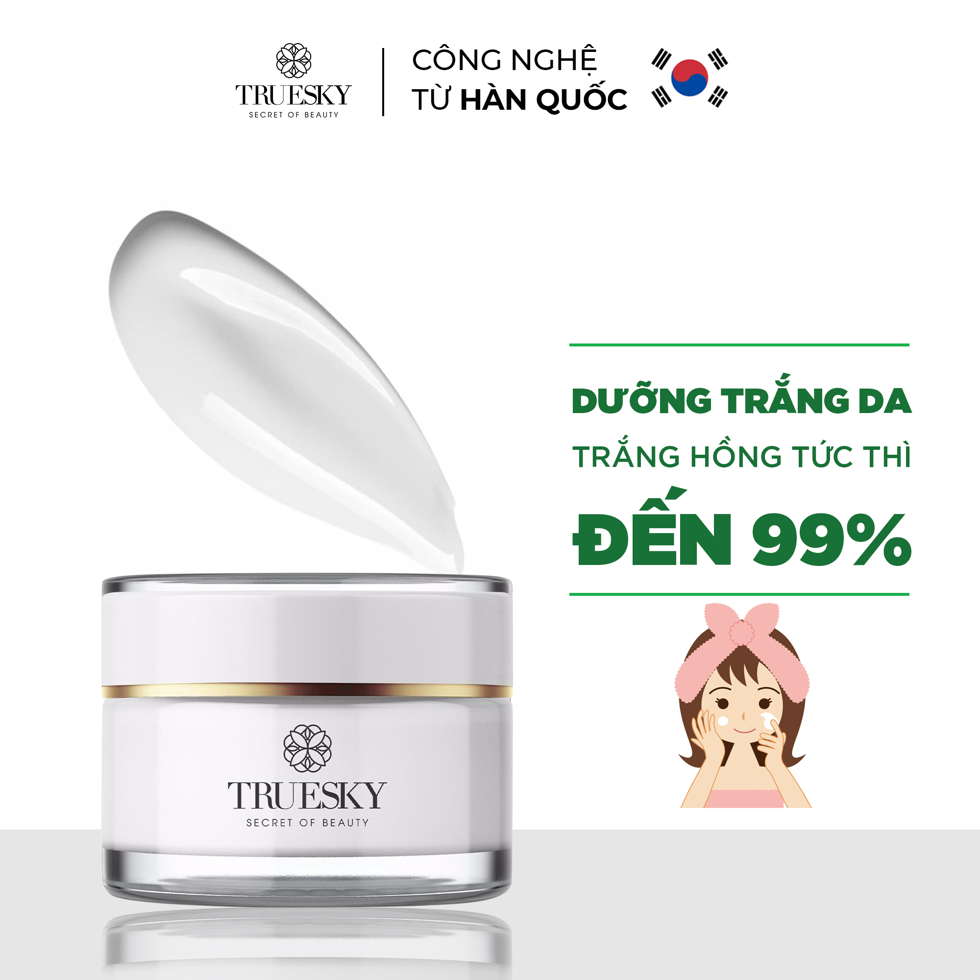 [HCM]Kem dưỡng trắng da mặt Truesky thu nhỏ lỗ chân lông làm da trắng mịn cải thiện tính đàn hồi cho da Whitening Face Cream 10g