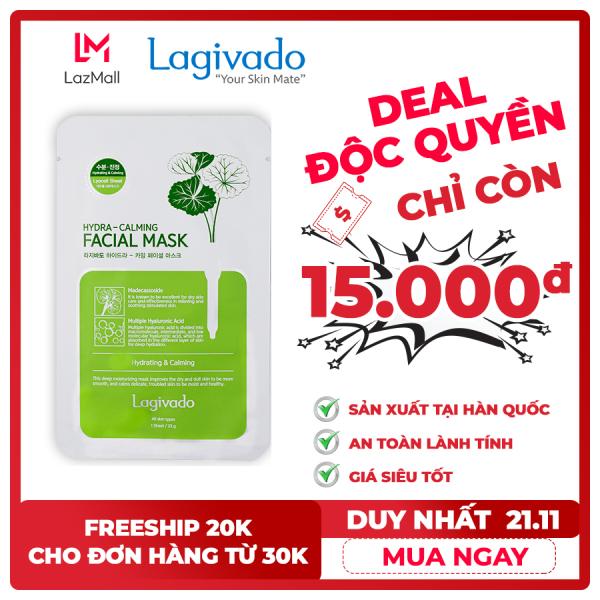 [ MUA 10 TẶNG 1] Mặt nạ dưỡng ẩm, trắng sáng da Hàn Quốc chính hãng Lagivado đắp mặt thư giãn, làm dịu da, cho làn da căng bóng và mềm mịn Hydra Calming Facial Mask dạng giấy giá rẻ