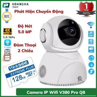 Camera IP wifi V380 Pro Q8 Chất Lượng 5.0MPx Đàm Thoại 2 Chiều Xoay 360 Độ camera wifi camera ip camera an ninh camera giám sát camera chống trộm camera V380 pro thumbnail