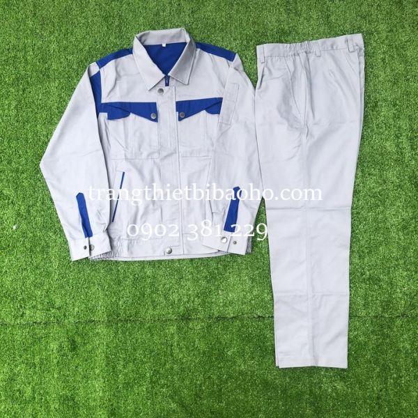 Quần áo bảo hộ lao động kỹ sư ghi phối xanh dây kéo áo - PR03