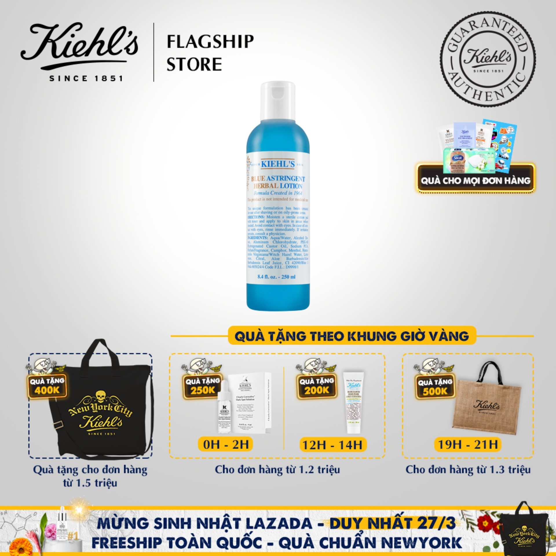 Nước cân bằng (Toner) Kiehls Blue Astringent Herbal Lotion Kiểm Soát Dầu Cho Da Dầu Và Da Mụn 250ML cao cấp