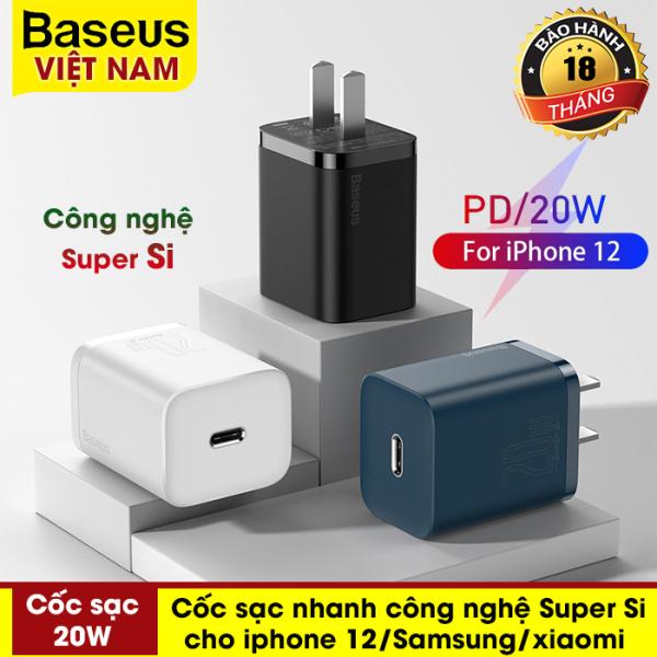 Củ sạc nhanh mini  Baseus 20W, công nghệ Super Si đầu sạc PD sạc nhanh cho iPhone 12, iphone 12 promax, Samsung, Huawei, Xiaomi,... - phân phối chính hãng tại Baseus Việt Nam