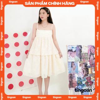 Váy hai dây dài hoa xù vàng nhạt tingoan CRACE MIDI DRESS YL thumbnail