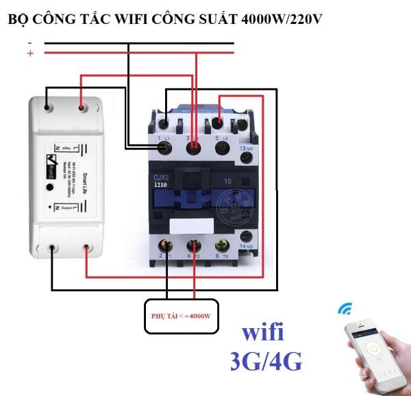 Bộ công tắc điều khiển từ xa hẹn giờ bật tắt bằng điện thoại kết nối wifi 3G 4G Smart Life và Khởi động từ CJX2 32A công suất lớn 4000W công tắc wifi công tắc điện thông minh contactor khởi động từ công tắc hẹn giờ ổ cắm hẹn g