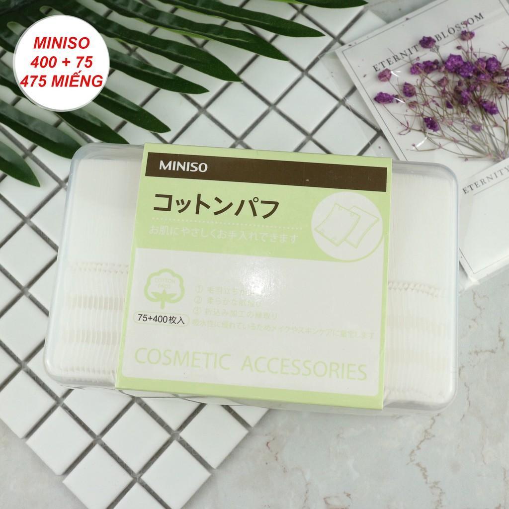 Hộp Bông Tẩy Trang Miniso Nhật Bản 2in1 475 Miếng (400 Miếng 1 Lớp, 75 Miếng 3 Lớp) chính hãng